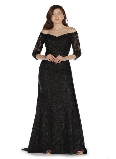 Pierre Cardin Simli Dantel Payet İşlemeli Abiye Elbise Siyah